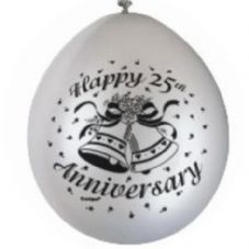 "10 'Happy 25th Anniversary' 9"" Silver Balloons"